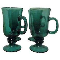 Set of 4 Libbey Tear Drop Juniper Irish Coffee Mugs or Cups