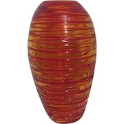 Red and Yellow Swirling Circles Art Glass Vase