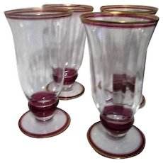 """Set of Four 6"""" High Panneled Water Goblets"""