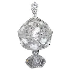 Crystal Lidded Footed Candy Dish