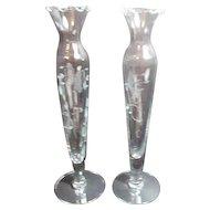 Pair of Princess House Hand Blown Crystal Bud Vases Heritage Pattern