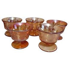 Set of 5 Iridescent Footed Sherbet Bowls From Federal Glass Co. Normandie Pattern