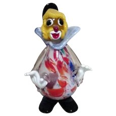 Murano Art Glass Colorful Standing Clown Multi-Colored Body from Italy