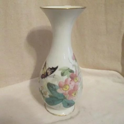 White Glass Vase With Hand Painted Butterfly In Flowers Gold Trim On Something Wonderful