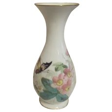 White Glass Vase with Hand Painted Butterfly in Flowers Gold Trim on Rims