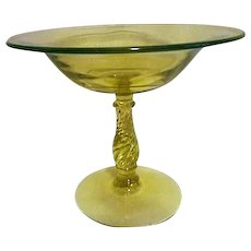 Lime Green Uranium Glass Footed Compote Candy Dish
