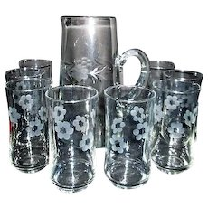 Clear Glass Pitcher and 8 Glasses with Acid Etched Floral and Leaf Motif