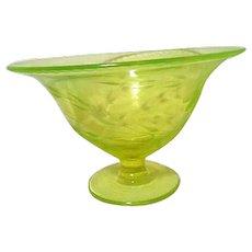 Uranium Florescent Green Glass Bowl with Etched Floral Design