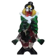 Murano Blown Art Glass Colorful Crazy Clown