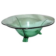 Green Footed Flared Glass Bowl