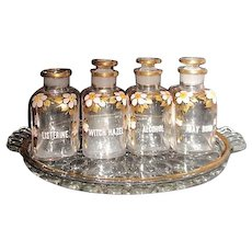 Vanity Set Hand Painted on Clear Glass 4 Containers with Tray
