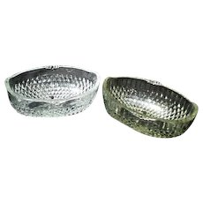 Pair of Clear Glass Footed Oval Bowls with Diamond Pattern
