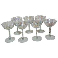 7 Iridescent Champagne Goblets