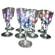 Set of 9 Iridescent Wine Goblets