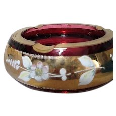 Bohemian Cranberry Glass Ashtray with Gold Painted Trim and Flowers