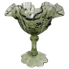 Fenton Rose Pattern Olive Green Ruffled Edge Stemmed Bowl