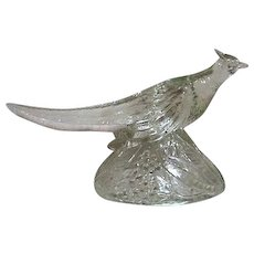 Clear Glass Ring Necked Pheasant Figurine by K.R. Haley Glass 1947