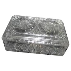 Heavy Crystal Lidded Box with Swirling Starburst Pattern