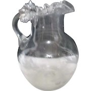 Antique Hand Blown Clear Glass Water Pitcher Etched Scene