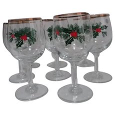 Set of 8 Crystal Christmas Holly Wine Goblets Gold Trim from Poland