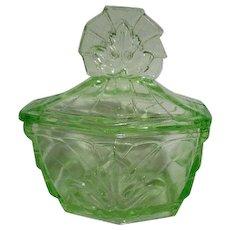 Florescent Green Glass Lidded Vanity Jar with Leaf Design