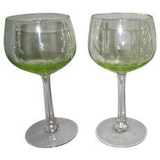 Pair of Florescent Wine Goblets