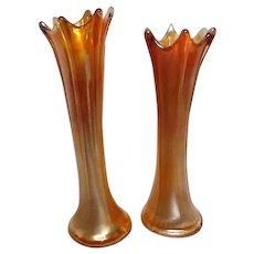 Two Carnival Glass Marigold Vases with Splash Drop Rim