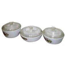 Set of 3 Lidded Corningware Spice of Life Pans