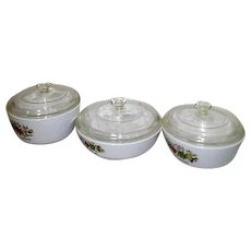 Set of 3 Lidded Corningware Spice of Life Pans