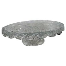 Reversible Cake Plate and Server Clear Glass Pineapple Pattern