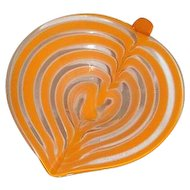 Spade Shpaed Orange and Clear Art Glass Candy Dish Bowl