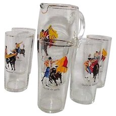Glass Pitcher and 5 Glasses with Matadors in Bullfighting Poses