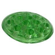 Green Uranium Florescent Glass Flower Frog