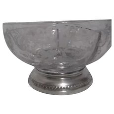 Etched Crystal Divided Bowl with Sterling Silver Base by Sheffield Silver Co. Bowl by Cambridge Pattern Chantilly