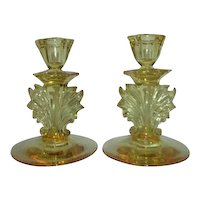 Pair of Fostoria Baroque Topaz Yellow Candleholders
