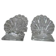 Set of 4 Crystal Baccarat Bambous Place Card Holders Shell Design