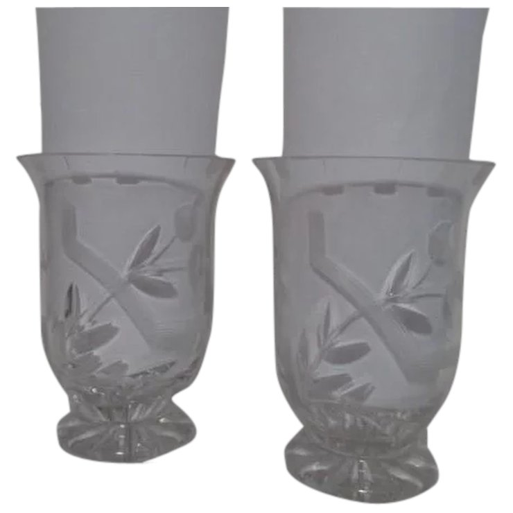 Pair Of Short Crystal Cut And Etched Vases Something Wonderful