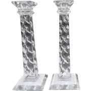 """Pair of 10"""" High Crystal Square Candle Holders Made in Slovenia"""