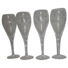 Set of 4 Princess House Champagne Flutes Heritage Pattern