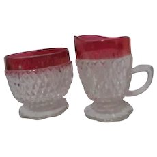 Diamond Point Indiana Glass Ruby Red Flash Border Cream and Sugar Set