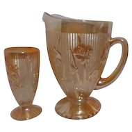 Jeannette Iridescent Iris and Herringbone Water Pitcher and Glass