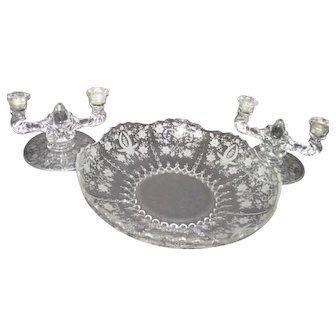 New Martinsville Glass Matching Bowl and Candle Holders Prelude Pattern