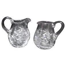 Pair of Small Crystal Pitchers