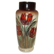 "Cream Colored 11"" VAse with Hand Painted Red and Gold Tulips"