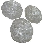 Set of 3 Thousand Eye Clear Glass Footed Bowls