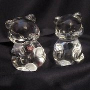 Vintage Valentine Pair of Crystal Teddy Bears With Colored Hearts