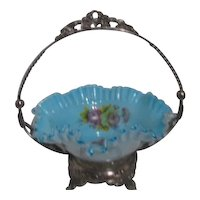 Bride's Basket with Metal Frame and Ruffled Blue & White Glass