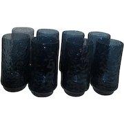 Lenox Crystal Flat Iced Tea Glasses Impromptu Dark Blue Set of 8