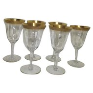Set of 6 Gold Trimmed Panelled Wine Goblets