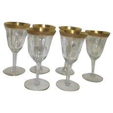 Set of 6 Gold Trimmed Panelled Wine Goblets